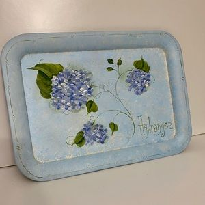 Hand painted tray with hydrangeas